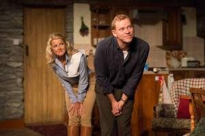 Sarah Hadland (Rosy) and Robert Webb (Ross).  Courtesy Hampstead Theatre