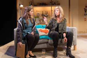 Pearl Chanda (Minnie) and Tracy-Ann Oberman (Lou).  Courtesy Hampstead Theatre.