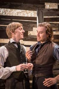 Joshua James as Arkady and Seth Numrich as Bazarov in Fathers and Sons